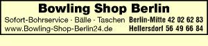 Logo von Bowling Shop Berlin - Bowlingzubehör - Bälle - Taschen - Sofort-Bohrservice