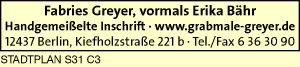 Greyer, Fabries, vormals Erika Bähr