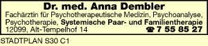Dembler, Anna, Dr. med. - Fachärztin für Psychotherapie