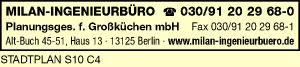 Logo von MILAN-INGENIEURBÜRO Planungsges. f. Großküchen mbH