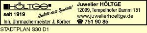 HÖLTGE, Inh. Uhrmachermeister J. Körber