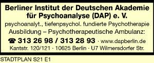 Berliner Institut der Deutschen Akademie für Psychoanalyse (DAP) e. V.