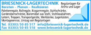 Logo von Briesenick-Lagertechnik Regalanlagen für Archiv und Lager