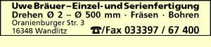 Logo von Bräuer, Uwe - Drehen - Fräsen - Bohren