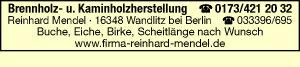 Brennholz- u.  Kaminholzherstellung Reinhard Mendel