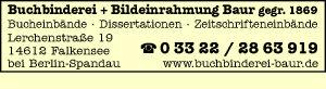 Buchbinderei u. Bildeinrahmung Baur