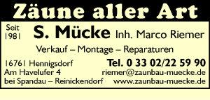 Mücke, S., Inh. Marco Riemer - Zäune aller Art