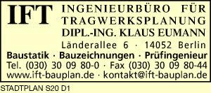 Logo von IFT Ingenieurbüro für Tragwerksplanung, Dipl.-Ing. Klaus Eumann