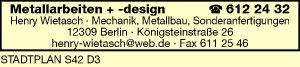 Logo von Metallarbeiten + Design Henry Wietasch