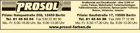 Logo von PROSOL Lacke + Farben GmbH