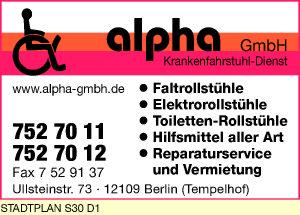 Logo von alpha Krankenfahrstuhl-Dienst GmbH