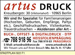 Artus Druck 10965 Berlin Kreuzberg öffnungszeiten